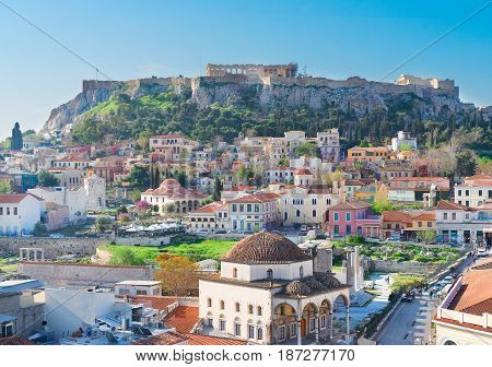 Skyline of Athenth with Moanstiraki and Acropolis hill, Athens Greece