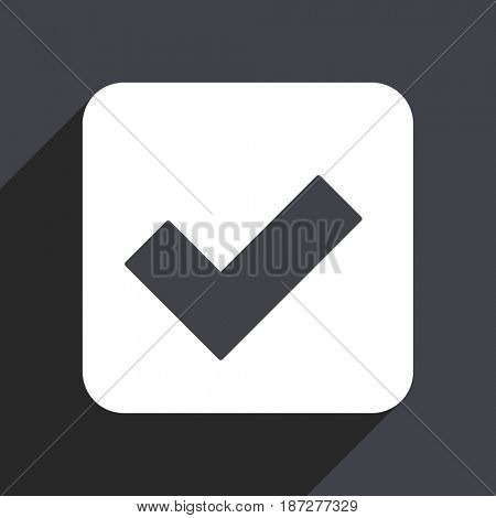 Accept flat design web icon isolated on gray background