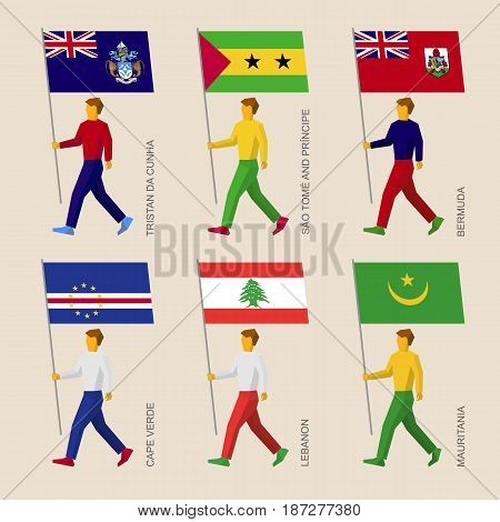 Set of simple flat people with flags of African countries and islands in Atlantic ocean. Standard bearers infographic - Mauritania, Cape Verde, Lebanon, Tristan da Cunha, Sao Tome, Bermuda