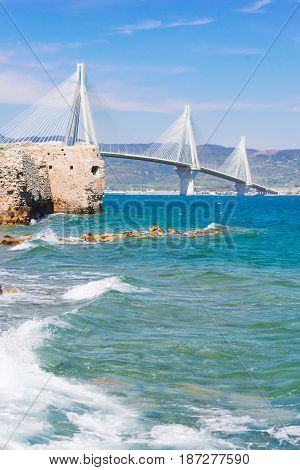 View of Ionian Sea and Rio Antirrio bridge, Greece