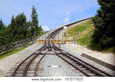 Travel To Sankt-wolfgang, Austria. The Railway On The Mountains.