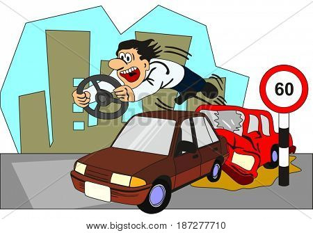 Car Accident Conceptual Drawing showing two vehicles involved and the driver of backside car thrown out from the front glass with the steering on his hand as he crossed speed limit and no seat belt