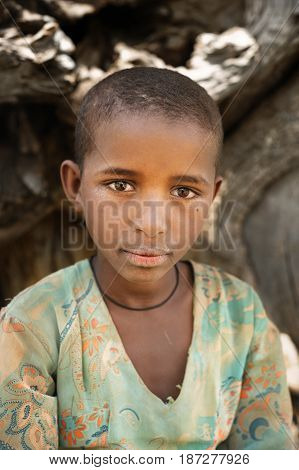 TIGRAY ETHIOPIA - SEP 17 2013 editorial Ethiopian child shepherd girl from Tigray region Ethiopia Africa