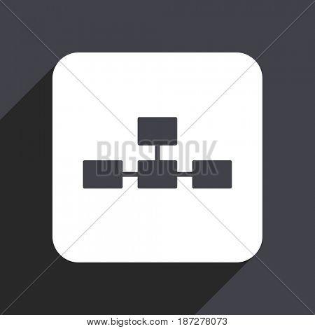 Database flat design web icon isolated on gray background