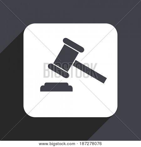 Auction flat design web icon isolated on gray background