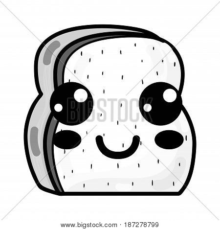 line kawaii cute happy chopped bread, vector illustration design