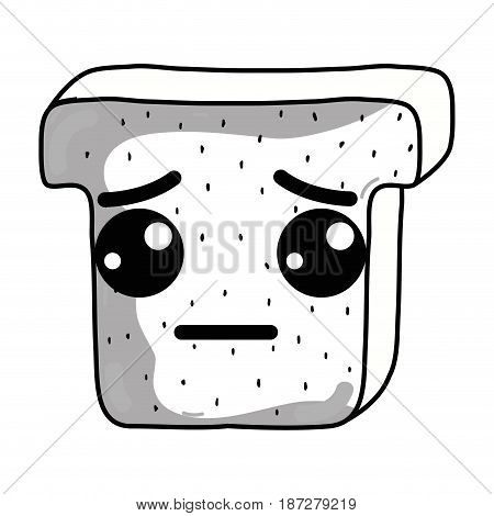 line kawaii cute sad chopped bread, vector illustration design