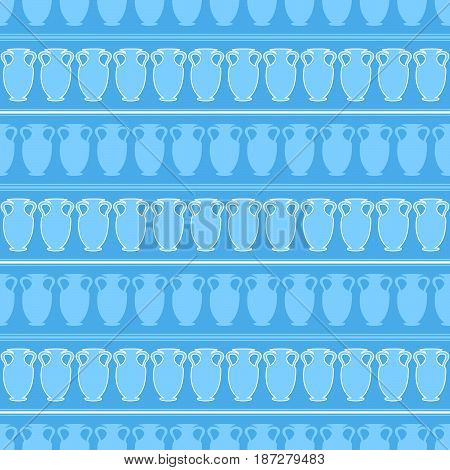 blue seamless pattern with many big amphora. vector