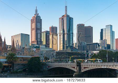 Melbourne Central Business District Citysccape With Historic Princes Bridge