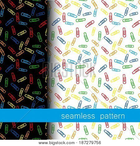 set of two seamless pattern with color Clerical clip. vector