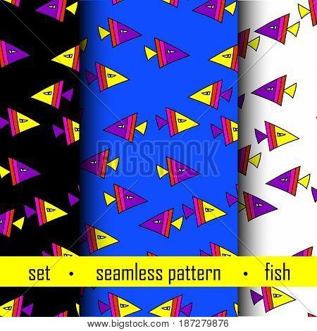 set of three seamless pattern with color fish. vector