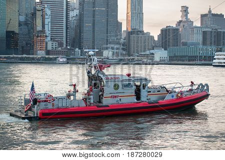 NEW YORK CITY - MAY 19 2017: Fire department of New York FDNY rescue boat on East River