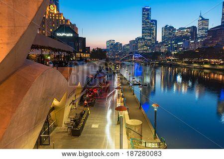 Southbank Promenade And Yarra River Embankment At Night