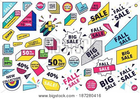 Flat design sale website banner template set. Isolated bright colorful vector illustrations for social media, posters, email, print, promotional material. Yellow Pink Blue black and white