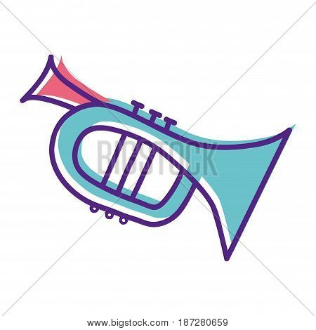 cute trumpet sticker music instruments, vector illustration
