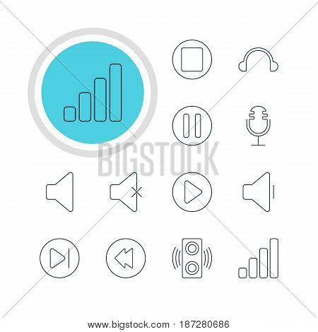 Vector Illustration Of 12 Melody Icons. Editable Pack Of Decrease Sound, Speaker, Start And Other Elements.