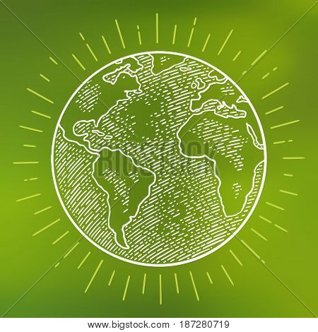 Earth planet globe with rays. Vector black vintage engraving illustration  on a white background. For web, poster, info graphic.