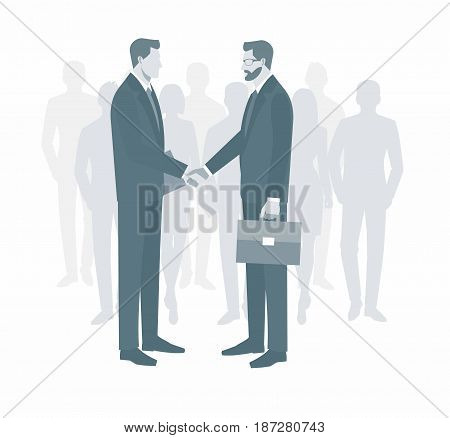 Two businessmen in suits shaking hands. to sign a contract . The concept of a successful transaction. group of people