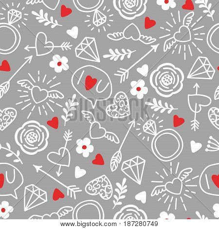 Seamless  background with hearts, arrows, ringlets, flowers, love.  illustration for fabric, scrap-booking paper and other