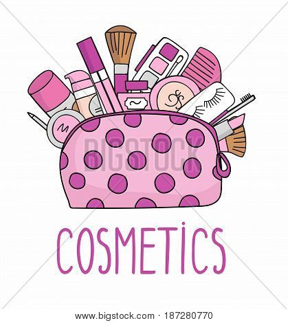 illustration cosmetic bag with cosmetics. on a white background. A set of cosmetics - lipstick, mascara, comb, shadows, a brush, a hairspray, a lip gloss