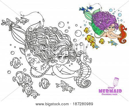 Beautiful Little Mermaid Girl Swimming With Sea Horse In The Hands Coloring Page On A White Backgrou