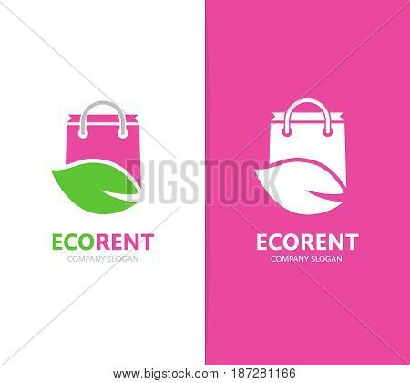 Vector of shop and leaf logo combination. Sale and eco symbol or icon. Unique bag and organic logotype design template.