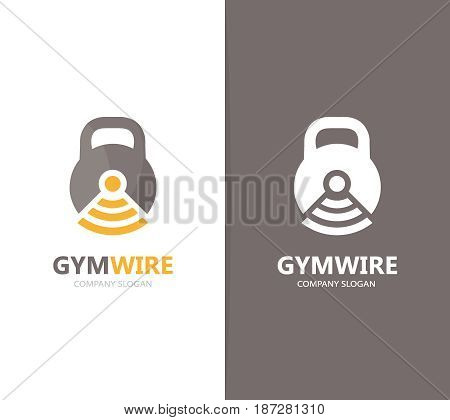 Vector of sport and wifi logo combination. Gym and signal symbol or icon. Unique fitness and radio, internet logotype design template.