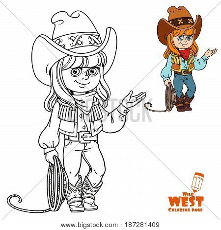 Cute Girl In A Cowboy Suit Is Holding A Lasso Coloring Page On White Background