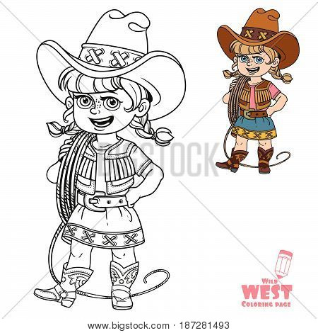 Cute Girl In A Cowboy Suit Is Holding A Lasso On Her Shoulder Coloring Page On A White Background