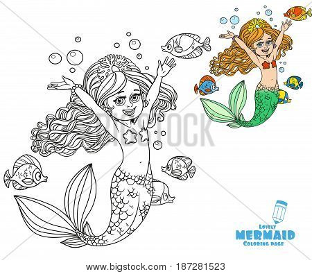 Cute Happy Little Mermaid Girl Coloring Page On A White Background