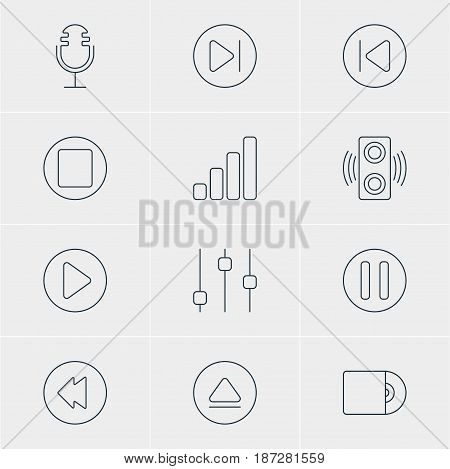 Vector Illustration Of 12 Music Icons. Editable Pack Of Subsequent, Compact Disk, Amplifier And Other Elements.