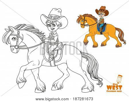 Cute Little Boy In Cowboy Suit Riding On A Horse Coloring Page On White Background