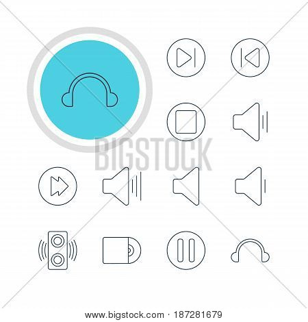 Vector Illustration Of 12 Melody Icons. Editable Pack Of Compact Disk, Subsequent, Lag And Other Elements.