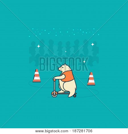 Circus bear. Vector. Circus artist. Cartoon animal.