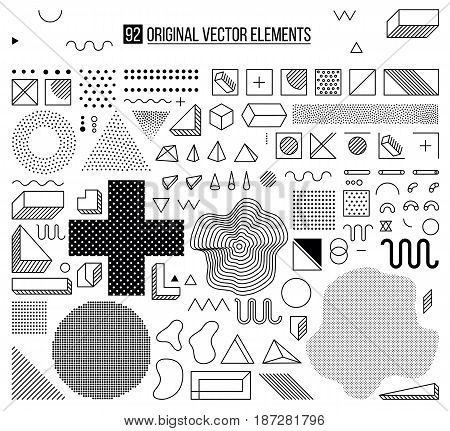 Mega set of design elements, template for your project, animation, and, advertising, advertisement, commercial banner, poster, t-shirt. Big black and white vector collection