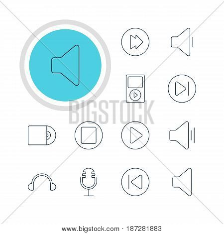 Vector Illustration Of 12 Melody Icons. Editable Pack Of Advanced, Preceding, Audio And Other Elements.