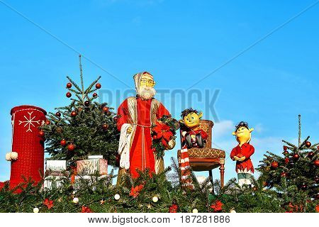 Dresden, Germany, December 19, 2016: Christmas market. Dresden, Germany. Celebrating Christmas in Europe. Traditional decorations of roofs of shops on the Christmas market in Dresden. Toys.