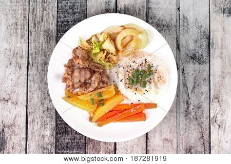 Thai Jasmine Rice In American Korean Style, Rice With Sliced Pork Steak.
