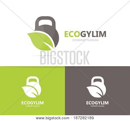 Vector of sport and leaf logo combination. Gym and eco symbol or icon. Unique organic fitness and workout logotype design template.