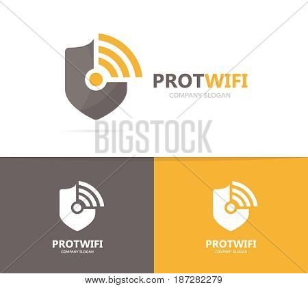 Vector of shield and wifi logo combination. Security and signal symbol or icon. Unique protect and radio, internet logotype design template.