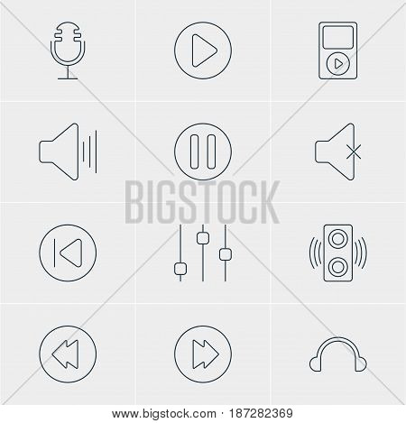 Vector Illustration Of 12 Music Icons. Editable Pack Of Soundless, Advanced, Reversing And Other Elements.