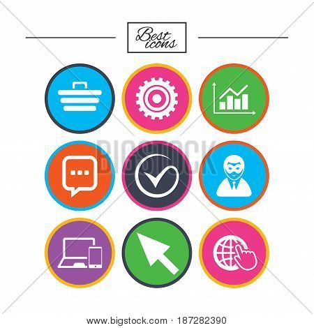Internet, seo icons. Tick, online shopping and chart signs. Anonymous user, mobile devices and chat symbols. Classic simple flat icons. Vector