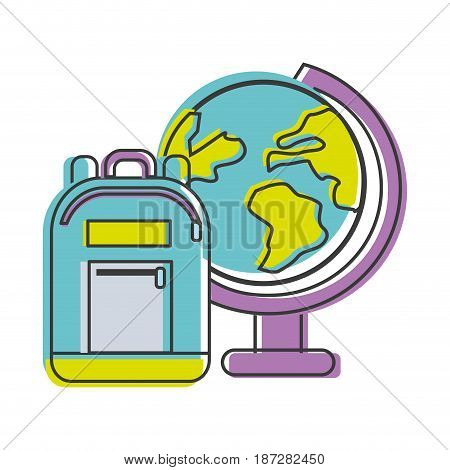 earth plenet desk with study bag, vector illustration