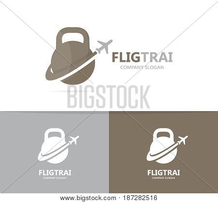 Vector of sport and airplane logo combination. Gym and travel symbol or icon. Unique flight fitness and workout logotype design template.