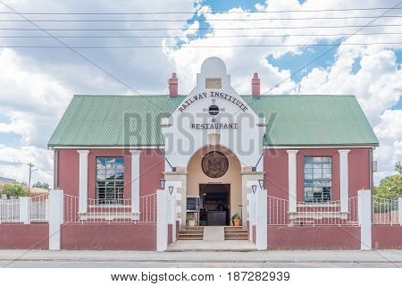 NOUPOORT SOUTH AFRICA - JANUARY 6 2015: The historic railway institute restaurant in Noupoort in the Northern Cape Karoo Region. The building dates from 1904