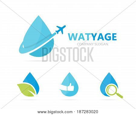 Vector of oil and airplane logo combination. Drop and travel symbol or icon. Unique flight water and aqua logotype design template.