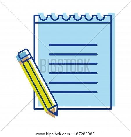 peper notebook with pencil tool study, vector illustration