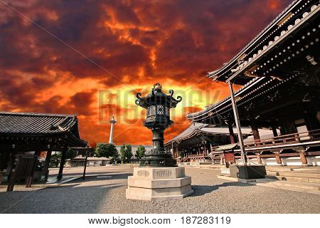 Beautiful sky and Japanese pattern of Iron lamp at center of terrace Higasgi-hongaji temple Kyoto.