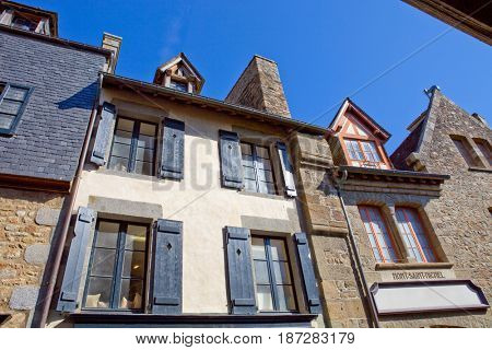 houses inside the mont saint michel in the north of france
