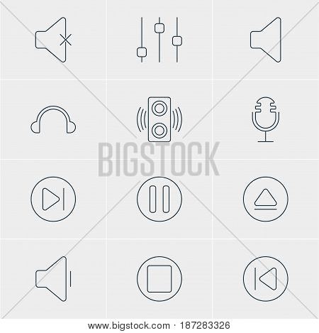 Vector Illustration Of 12 Melody Icons. Editable Pack Of Speaker, Amplifier, Mike And Other Elements.